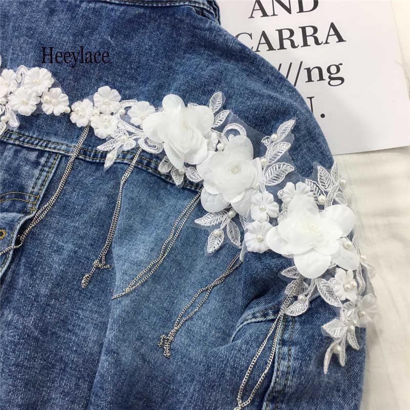 BF Harajuku 2019 Wanita Jean Jaket Tanaman Jaket Denim Vintage Bunga Lengan Panjang Jaket Kasual Longgar Mantel Wanita Chaqueta Mujer