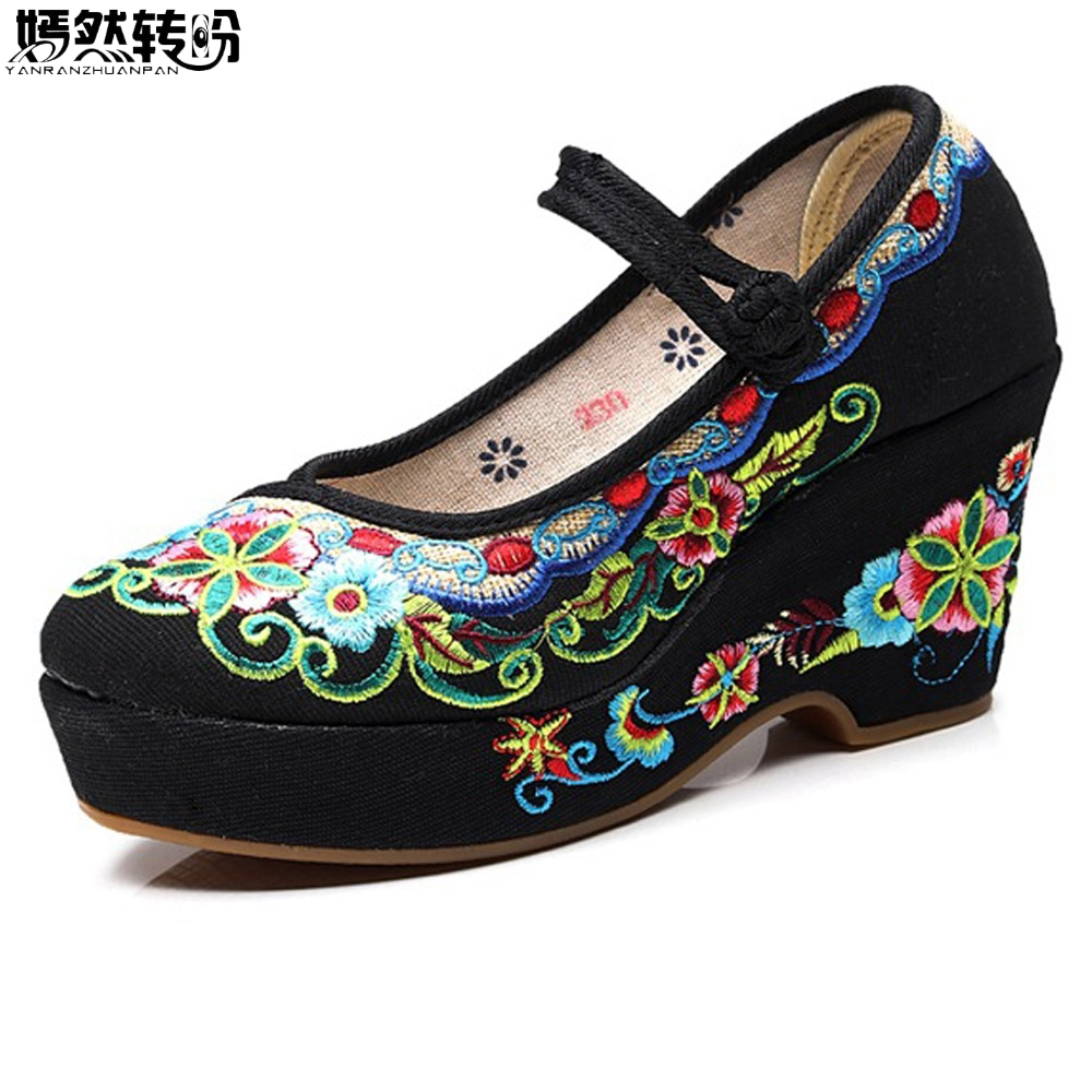 Chinese Women Pumps Flower Embroidered High Heels Shoes Causal Canvas Chinese Wedding Bride Pumps Woman Platform Shoes Sapatos