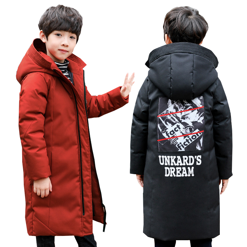 Boys Winter Jacket Kids Jacket for Boys Hooded Thick Warm Print Long Outerwear Teenage Children Down Jacket Kids Clothes 10 12Y men geo print jacket