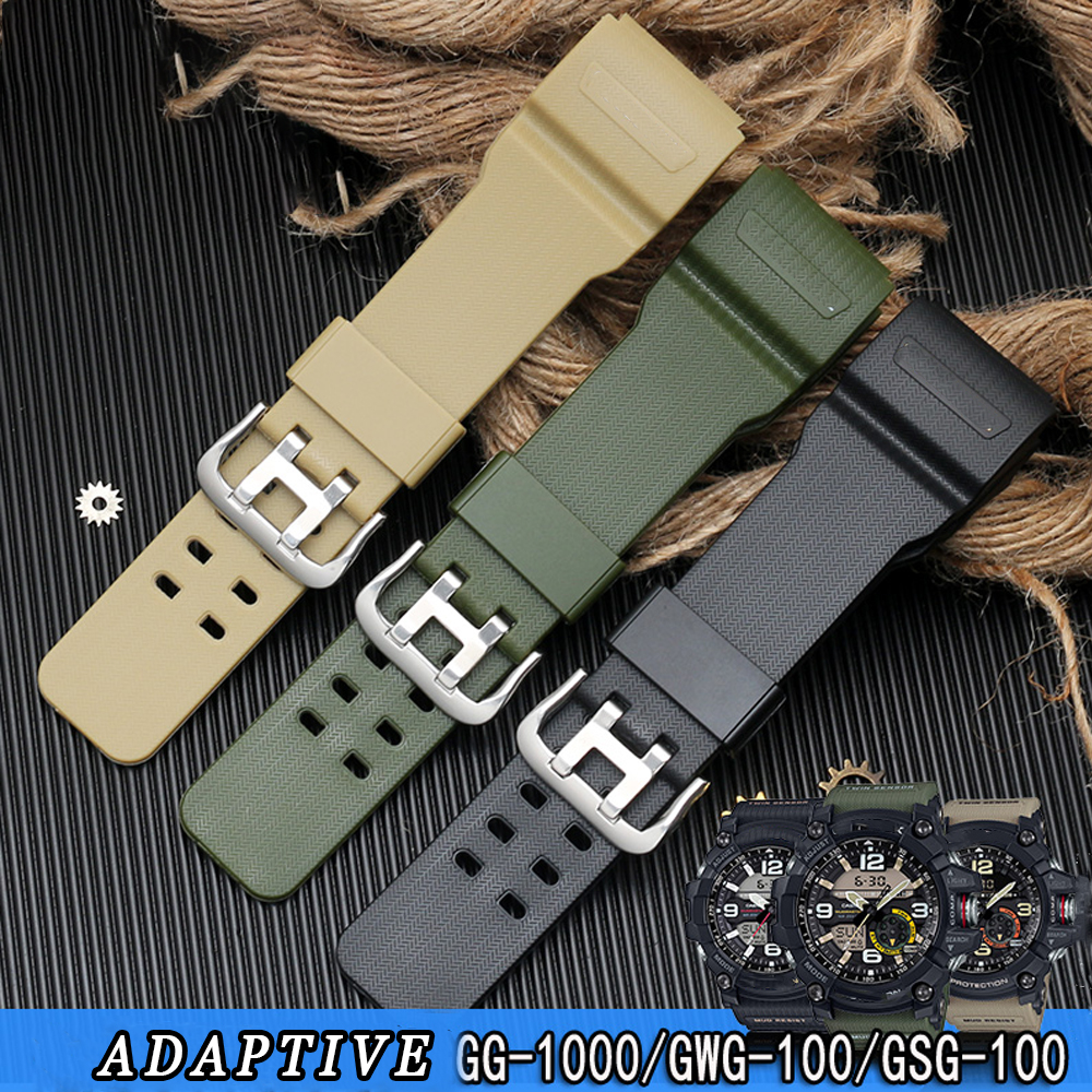 Silicone Watch Band Sliver Stainless Steel Buckle Watchband Rubber Strap Waterproof For Casio GG-1000/GWG-100/GSG-100 Tools image