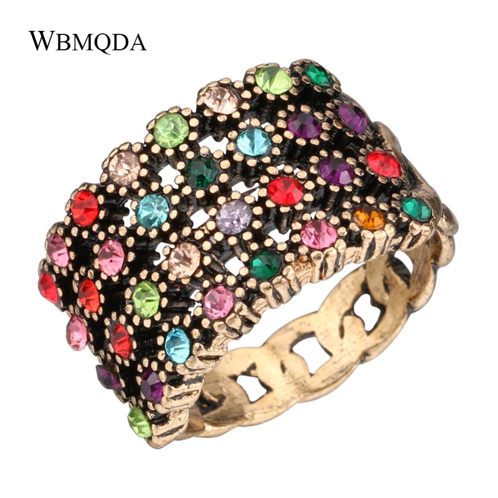 Vintage Colorful Crystal Chain Rings For Women Antique Gold Rainbow Color LGBT Ring Fashion Jewelry 2018 Best Friend Gift