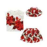 Прекрасный для маленьких девочек с цветочным принтом Хлопковая футболка + розовые юбки + шляпа от солнца 3 шт. комплект мода лето принцесса д...