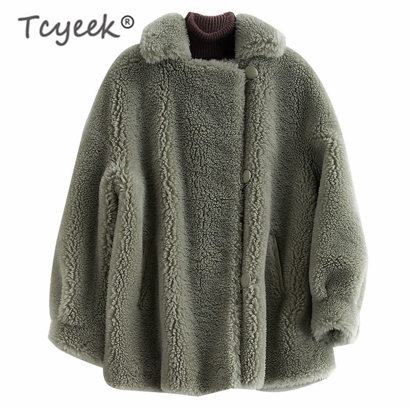 Tcyeek Real Fur Coat Female Elegant Winter Sheep Shearing Jacket Women Clothes 2019 Korean Thick Warm Short Jacket Hiver F33612