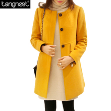 TANGNEST Loose Candy Color Wool Blend Coat 2017 Fashion Woman Sweet Casual Overcoat Winter Long Thick Plus Size Jacket WWN1152