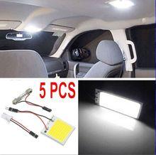 5x 48SMD 4 W COB Luzes Do Painel de luzes de leitura Interior Do Carro LEVOU 12 V Lâmpada Bulbo Dome Luz Branca