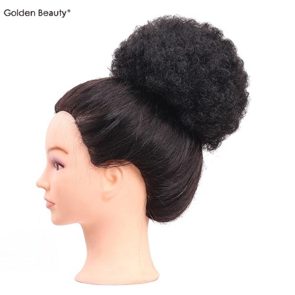 6 tums Elastiskt Net Curly Chignon Med Två Plastkombiner Updo Cover - Syntetiskt hår - Foto 1
