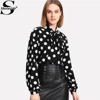 Sheinside Bow Tied Neck Lantern Sleeve Polka Dot Blouse Women Button Casual Top 2018 Long Sleeve