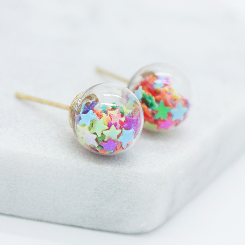 Stud-Earrings Jewelry Glass Star Christmas Handmade Women Fashion-Brand for Lovely Beads