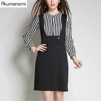 Two Piece Set Stripe Full Sleeve Tops Shirt Black Package Hip Suspender Skirt Spring Autumn 2