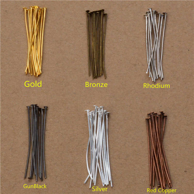40mm 50mm 200pcs Flat Head Pins eye pin earrings tassel charms beads making needles hook Crafts Components bracelets connector