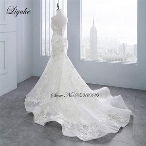 """Image 3 - Liyuke высокое качество цветочный принт свадебное платье в стиле """"Русалка"""" Аппликация из кружева, вышитая бисером жемчужина ручная работа Элегантное свадебное платье с открытыми плечами"""