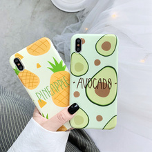 Fruit Summer TPU Soft Case For iPhoneX XR Cartoon Pineapple Avocado Phone Case For iPhone7 8 6 6S Cover Japan and South Korea