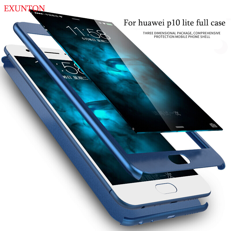360 Degree Cover Case For Huawei P10 lite pc matte Full Body Protection for huawei p10 p ...