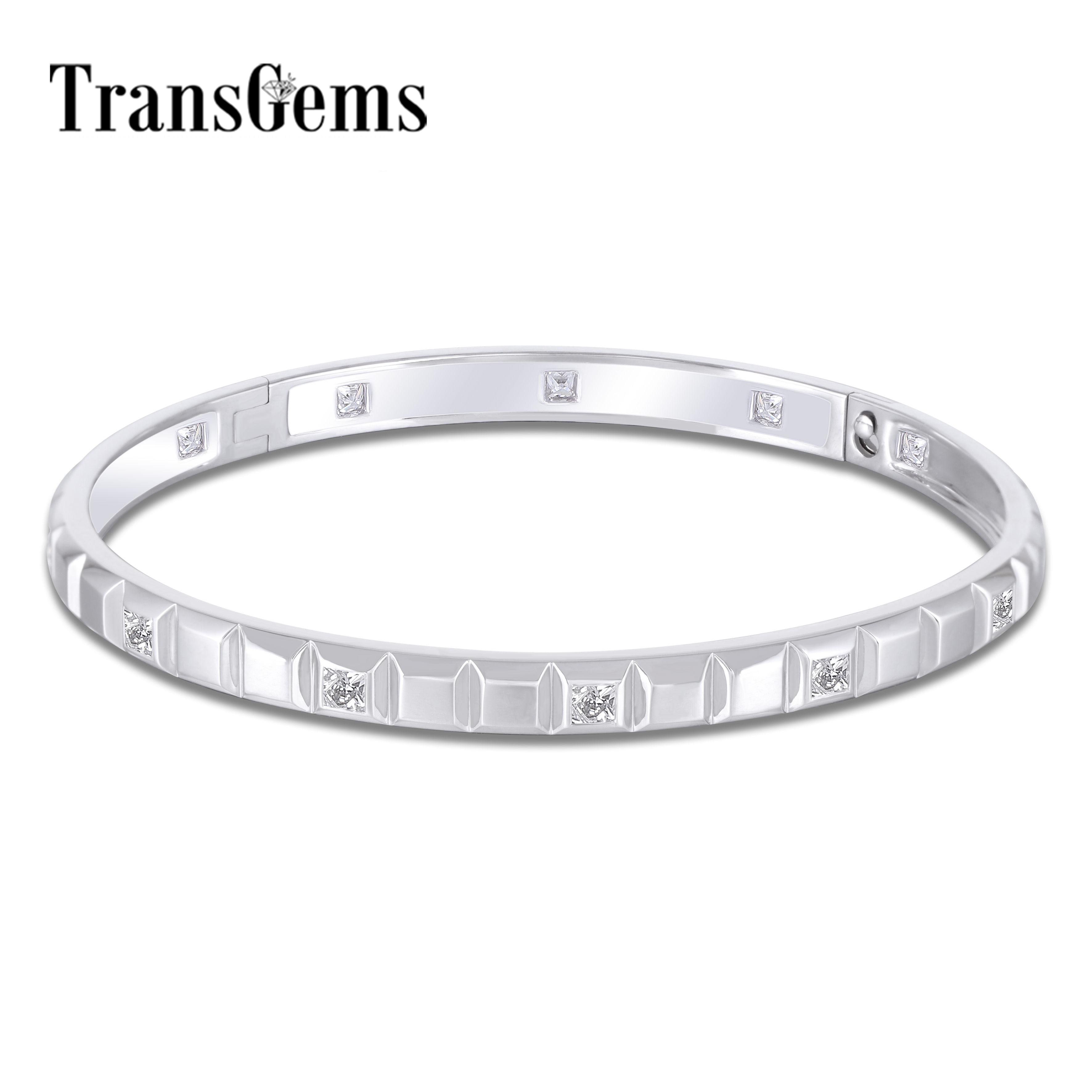 Transgems 18K White Gold 12pcs Princess cut F Color Moissanite Bangle Bracelets for Women Size 16