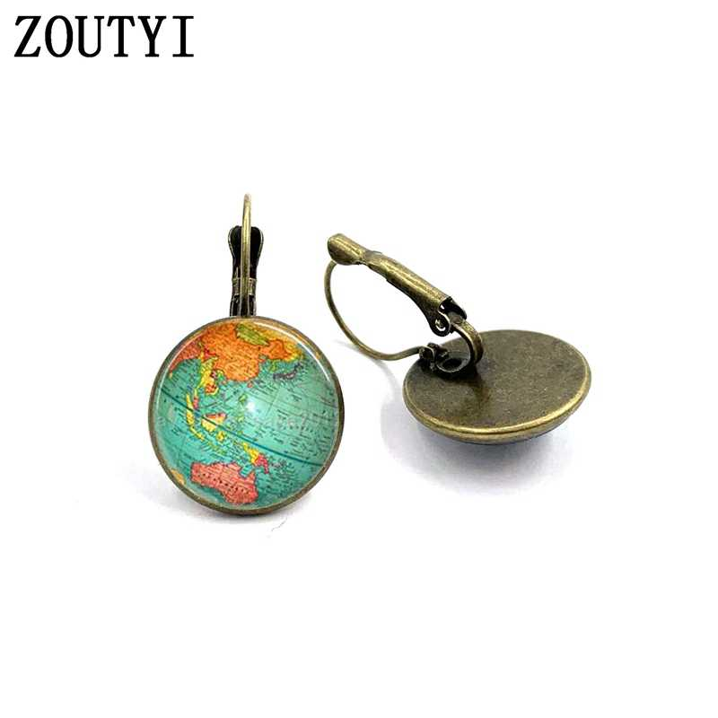 New/glamour fashion world globe pattern photos, convex glass inlay earrings, feminine decoration.