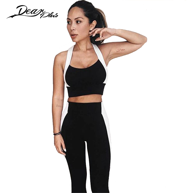 Black White Color Block Patchwork Crop Top and Leggings Set Women Casual Slim Fitness Leggings 2 Piece Set