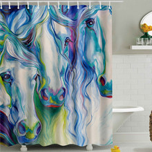 Waterproof Bath Screen Polyester Shower Curtain In The Bathroom Home Decoration Animals Horse,Zebra,Unicorn Printing(China)