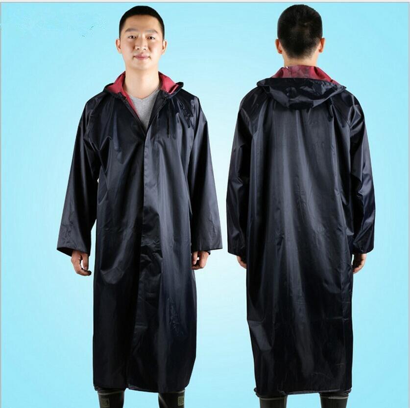 Polyester Men's Long Rain Poncho Waterproof Men Hooded Rain Coat ...