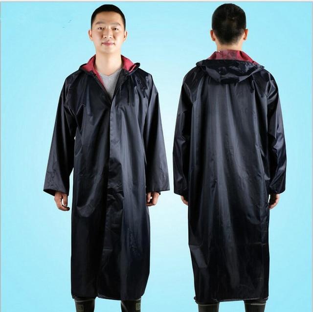 Lovely Polyester Men's Long Rain Poncho Waterproof Men Hooded Rain Coat  EW86
