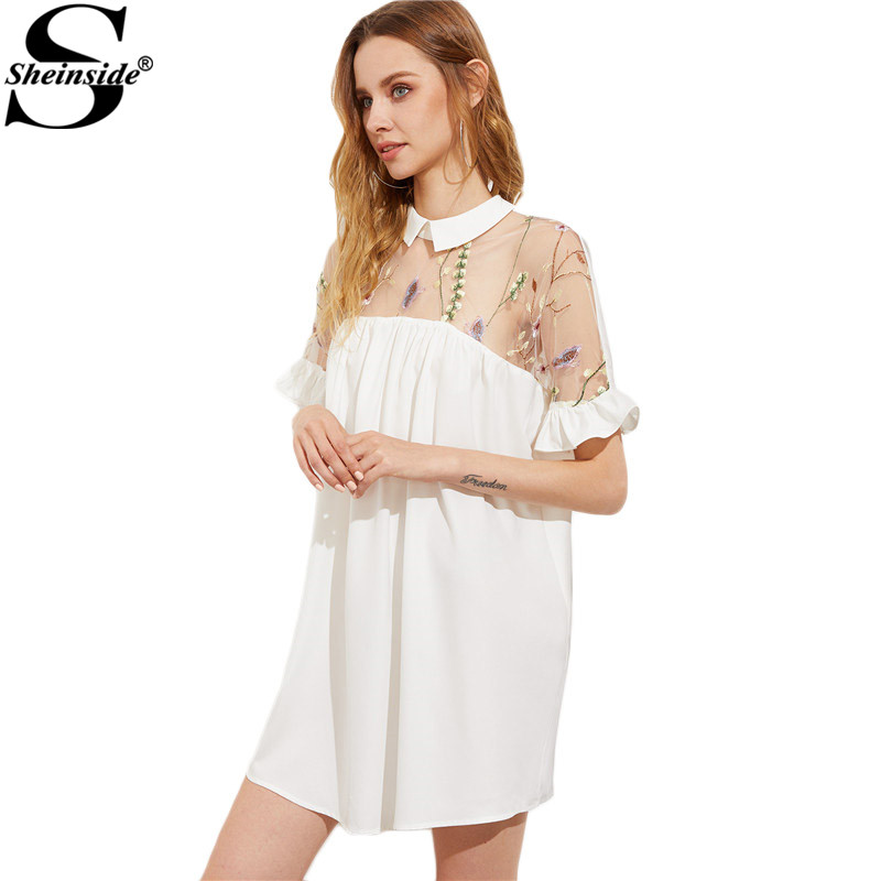 Sheinside Embroidery Mesh Yoke Dress White Elegant Women Tie Back Ruffle Sleeve Summer Dresses 2017 Patchwork Ruffle Smock Dress