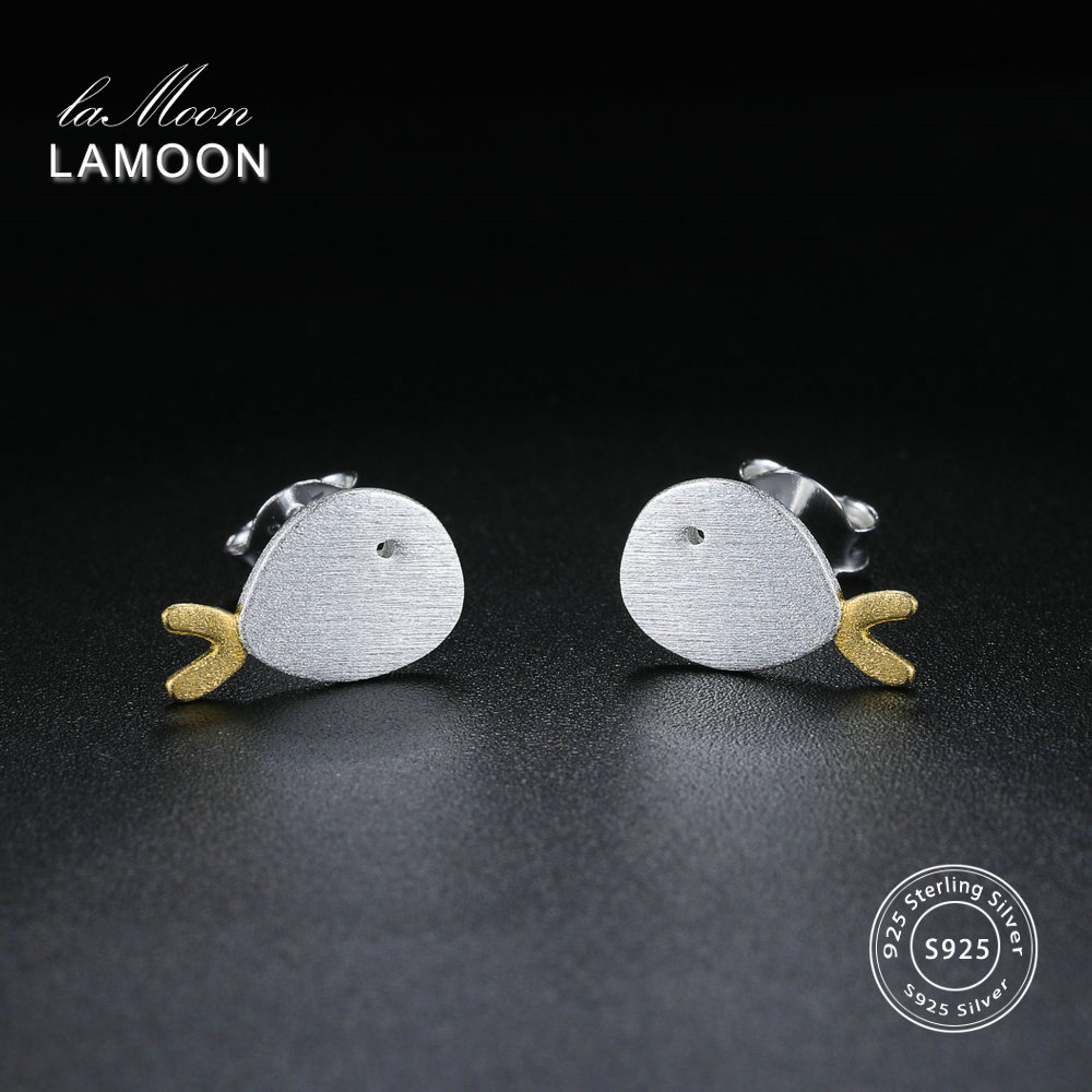 LAMOON Lovely Wiredrawing 2 Colors Little Fish Stud Earrings 925-Sterling-Silver Fine Jewelry for Women Cocktail Party LMEY171