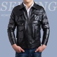 Men S Unique Design High Grade Leather Jacket Stereoscopic Pockets Coats Turn Down Collar Casual Slim