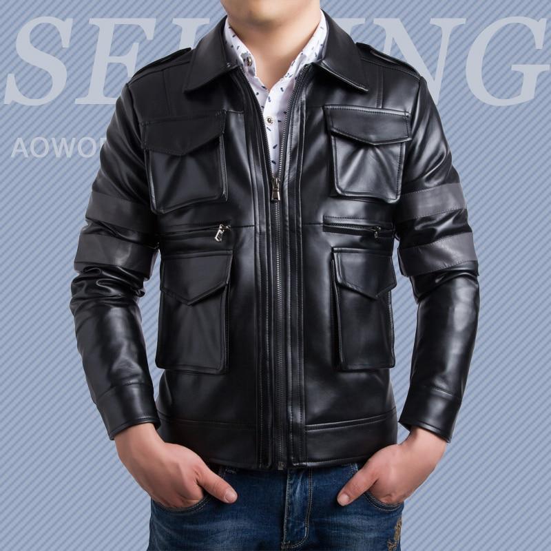 Hombres diseño único alto grado chaqueta de cuero estereoscópica bolsillos  Abrigos turn-Down collar casual Slim ropa de calidad superior 624b5d2d185fd