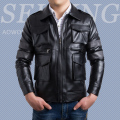 Men's Unique Design High Grade Leather Jacket Stereoscopic Pockets Coats Turn-down Collar Casual Slim Clothing Top Quality
