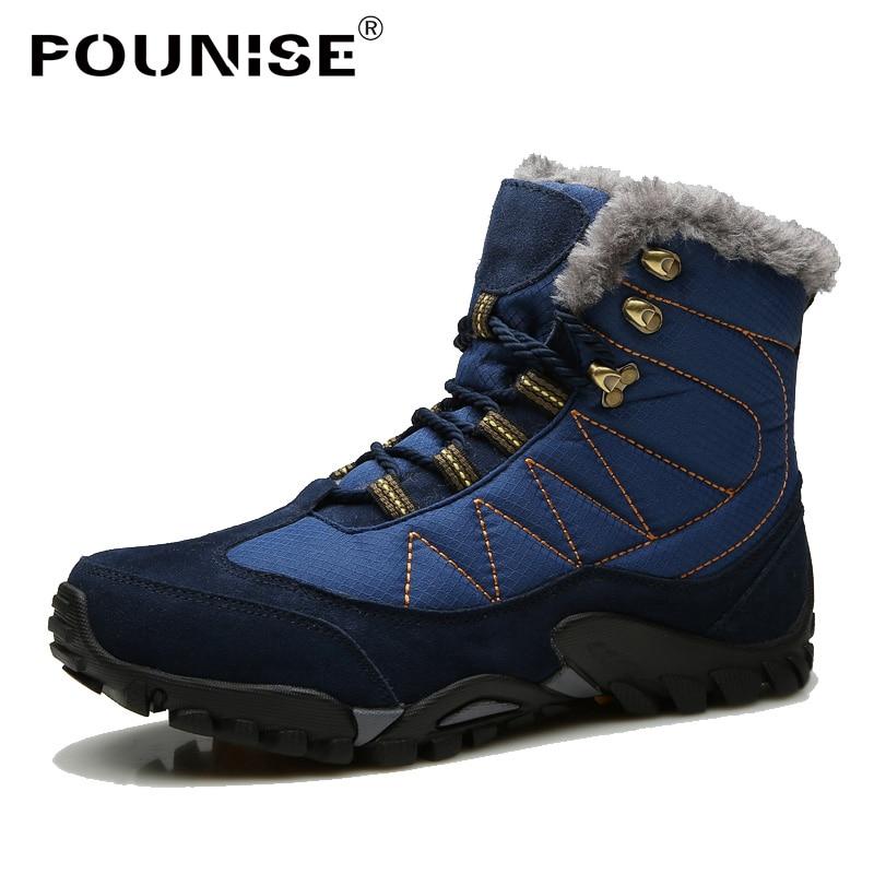 2018 Boots Desgaste Quente Inverno khaki Não Com blue Ankle Homens Ao Neve Borracha Black slip Dos Resistente Couro De Calçado Botas Pelúcia q07qUXx