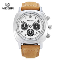 2017 New Men Watch Megir Luxury Quartz Watches Fashion Casual Simple Wristwatch Genuine Leather Chronograph Relogio