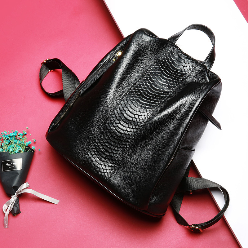 Genuine Leather Backpack Women s Multi Funcition Crocodile Pattern Shoulder Bag 100 Top Layer of Calfskin