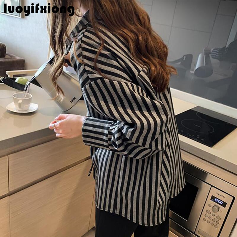 Kimono Cardigan Long Sleeve Vintage Striped Blouse Shirt 2019 New Work Womens Tops and Blouses Loose Casual Plus Size Blusas 5
