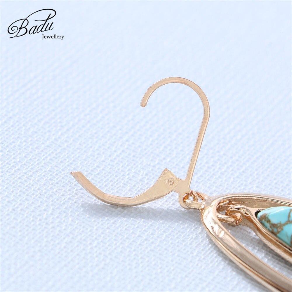 Badu Vintage Hoop Earring Water Drop Blue Stone Pendant Golden Hoop Earrings for Women Fashion Jewelry Wholesale in Hoop Earrings from Jewelry Accessories