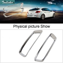 Tonlinker 2 PCS DIY Car Styling NEW ABS Chrome The Rear Fog Cover Case Stickers For