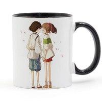 Chihiros Chihiro Und Haku Miyazaki Hayao Cartoon Becher Kaffee milch Keramik-tasse Kreative DIY Geschenke Wohnkultur Becher 11 unze T299