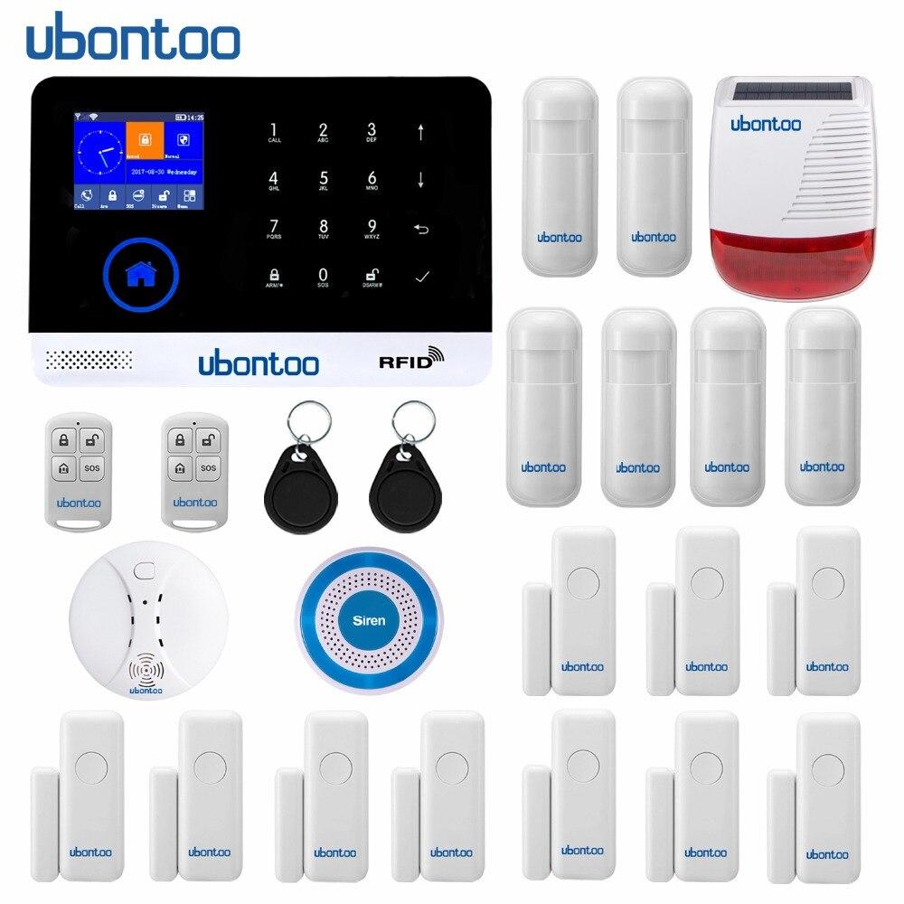 Ubontoo Sans Fil SIM GSM Accueil RFID Antivol Sécurité clavier tactile système d'alarme sans fil GSM kit de détecteur De Nombreux pays Voix