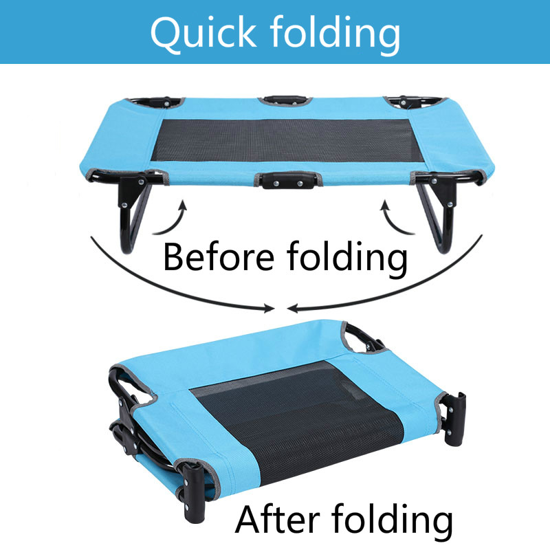 Pet supplies wrought iron removable and washable breathable dog mattress teddy golden hair pet portable folding bed ZP4121604 - 2