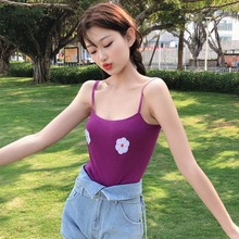 2019 New Women Summer Casual Sexy Backless Camisole Strap Tank Tops Fashion Floral Printed Camis Vest Femme