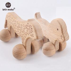 Let's make Dogs 5pcs Cheetah Beech Wood Animals Leopard Car Montessori Toys For Children Teething Food Grade Wooden Baby Toys