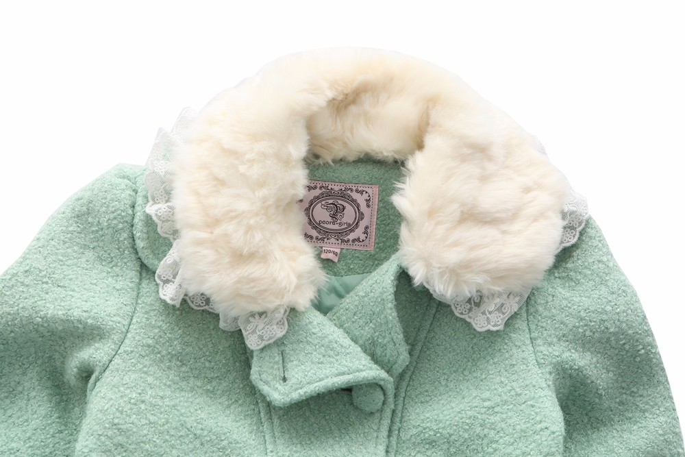 21ae41225 PCORA Kids Girls Wool Coat Autumn Winter Outerwear Fur Collar ...