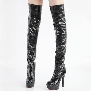 Image 4 - Women High Heels Tall Boots Sexy Patent Platform High Heeled Over The Knee Boots For Women Ladies Pole Dancing Boots Size 34 43