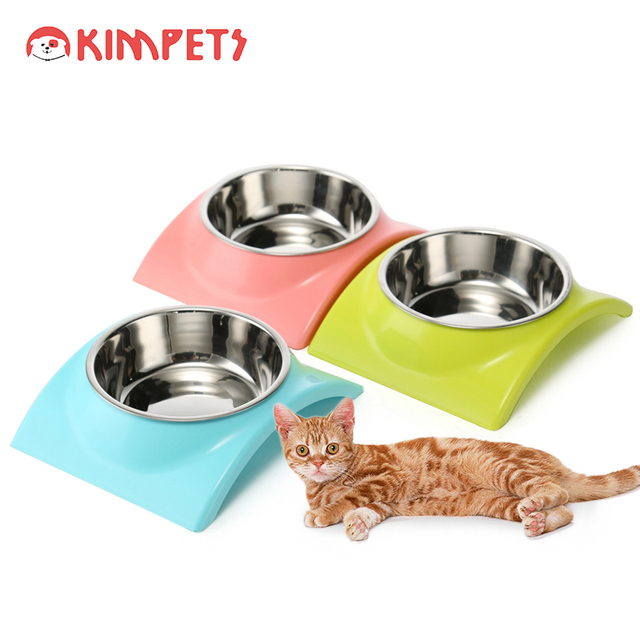 Kimpets Stainless Steel Pet Dogs Cats Bowl For Food Dispenser Water with Rubber Stand Feeding Bowls Dog Feeder Utensils