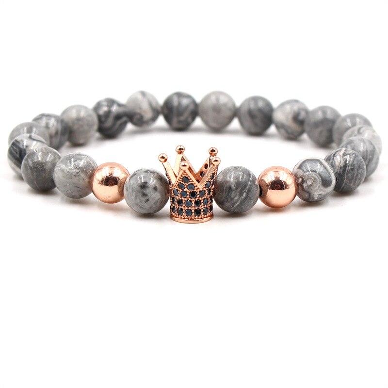 Krachtig Livvy 2018 Bedelarmband Armband 8mm Natuursteen Ingelegd Zirkoon Microman Zwarte Kroon Diy Armband & Handschoenen Charme Vrouw
