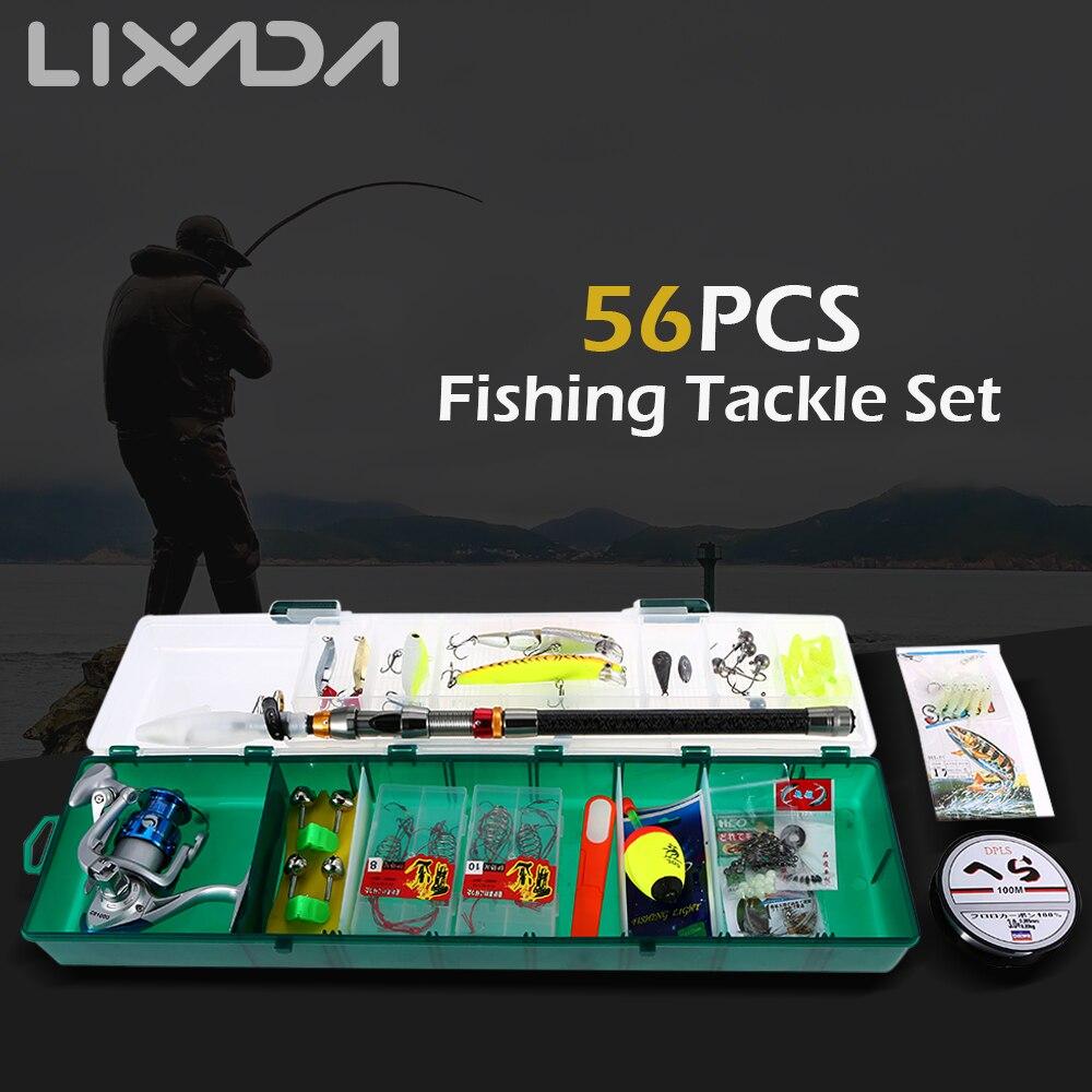 Lixada 56PCS Telescopic Fishing Rod Set With Spinning Reel Combo Full Kit Fish Lures Rod Reel Fishing Tackle Set  Storage Bag