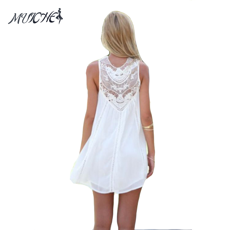 40113a29ce6 MUICHES Summer Dresses 2017 Mini Sleeveless Casual Lace Dresses for Woman  Fit Beach Sexy Short White Women Dress-in Dresses from Women s Clothing on  ...