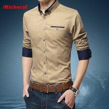 iRicheraf Shirts Men Shirt Long Sleeve Casual Solid Khaki, Dark Blue, White Streetwear Man Clothing Korean Shirt Plus Size 5XL tutis mimi plus 3 в 1 dark blue white rhomb