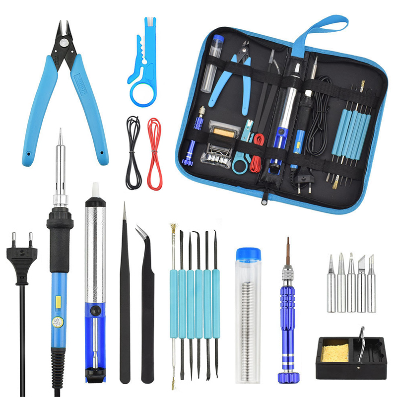 Soldering Iron Kit Electronics 60W Adjustable Temperature Welding Tool Soldering Gun Soldering Stand With Tool Case блуза jennyfer jennyfer je008ewumi29
