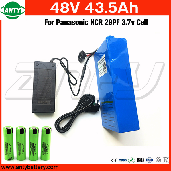 48v E Bike Battery 43.5Ah 1800w For Panasonic NCR 29PF Cell with 2A Charger Built in 50A BMS Lithium Battery 48v Free Shipping free customs taxes super power 1000w 48v li ion battery pack with 30a bms 48v 15ah lithium battery pack for panasonic cell