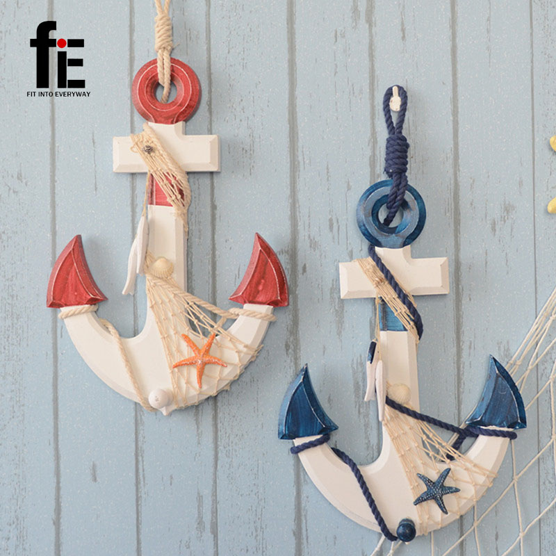 Wooden Crafts Home Anchor Pendant Sea Decoration Nautical Party Decorations Wood In Figurines Miniatures From Garden On