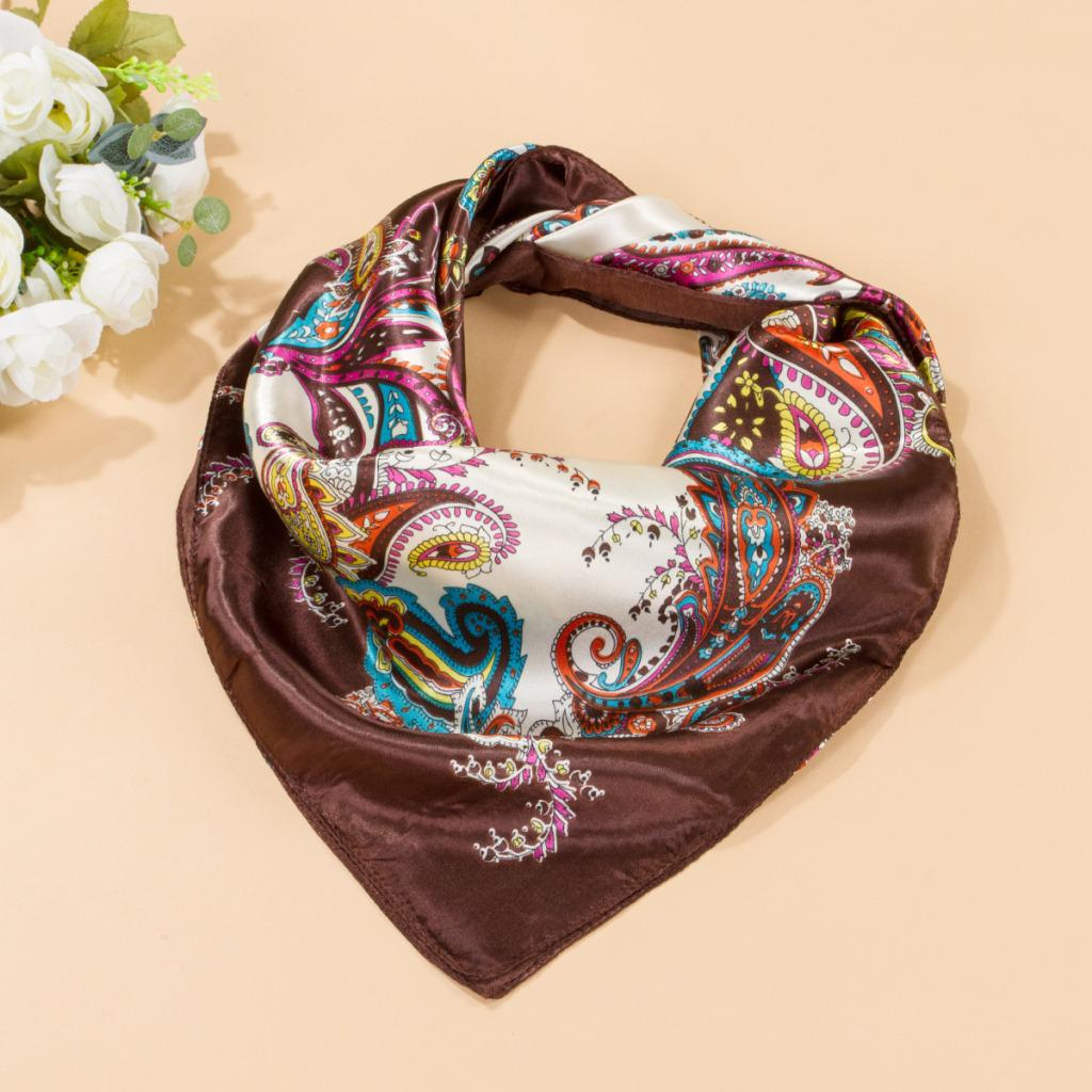 Women Ladies Vintage Square Satin   Scarf     Wrap   Shawl Neckerchief